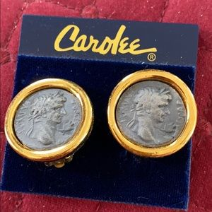 Vintage Carolee clip on coin earrings.